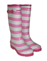 Cotswold Pink Stripey Wellingtons